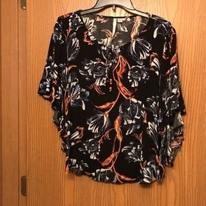 Floral Butterfly Wing Blouse